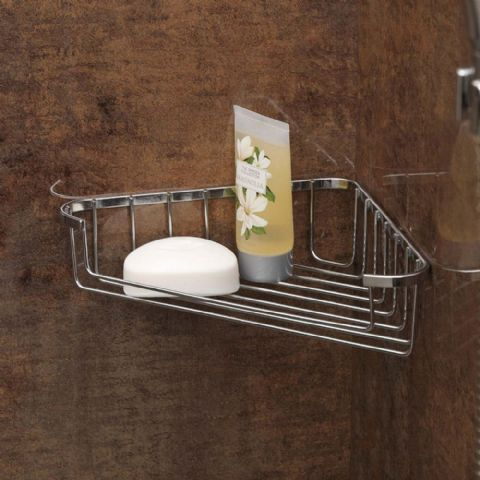 Shower Bath Chrome Corner Soap Storage Basket